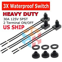 3pcs 12V 4quot; Wire Leads Waterproof On Off Push Button Switch for Motorcycle Car $5.95