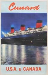 Cunard White Star Line Rms Queen Mary Original Travel Agents Poster Southampton