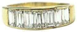 18kt Natural Baguette Diamond 7-stone Yellow Gold Ring 2.00ct