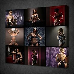 Lingerie Women Collage Sexy Erotic Canvas Wall Art Picture Print Ready To Hang