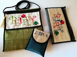 Set of 3 hand made soft bags Lebanon Beirut Theme embroidered $39.00