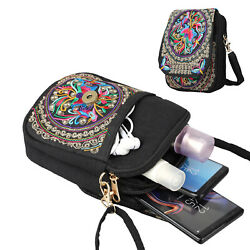 Woman Cell Phone Bag Retro Embroider Purse Messenger Crossbody Bags Wallet US