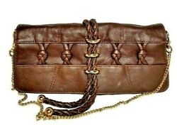 AANETA by Designer Valeria Shoulder BAG CLUTCH Brown Leather Gold Chain $28.00