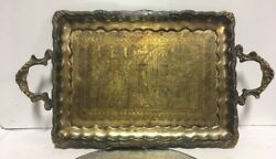 Antique Persian Solid Brass Silver Overlay Cairoware Middle Eastern Tray