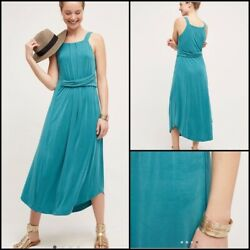 Anthropologie L Maeve Azores Halter Dress Turquoise green Maxi Midi Cute