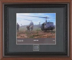 Us Army Bell Uh-1d Helicopter Vietnam War 1966 Framed Print + Relic Huey Pc Coa