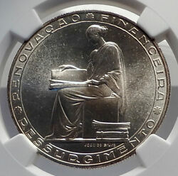 1953 Portugal 25 Years Financial Reform Silver 20 Escudos Coin Ngc I79863