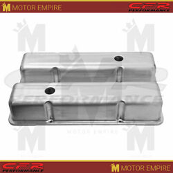 For Chevy Sb Small Block 283 350 Raw Aluminum Stamped Tall Valve Covers
