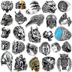 Skull Cool Gothic Man Ring Bands 316l Stainless Steel Steam Ram Men Punk Ring
