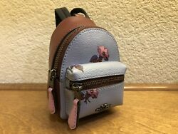 New COACH Bell Flower Floral Mini Backpack Coin Case Purse Charm Keychain F72955