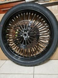 21 X 3.5 Fat Spoke Dual Disc Blk Bw Tire 2 Rotors W Abs Harley Touring 08-20