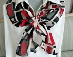 Round Scarf with Flower Front Closure Geometric Squares Pattern Excellent Cond.