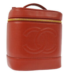 Cc Cosmetic Vanity Hand Bag Red Caviar Skin Leather Authentic Ak31624b