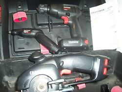 3pc Craftsman Power Tools -drill - Trim Saw - Rotary Tool In Case 759