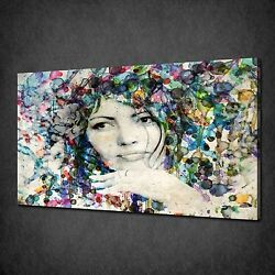 Woman Paint Colourful Flowers Canvas Wall Art Print Picture Ready To Hang