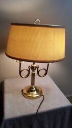 Vintage French Horn Brass Candlestick Bouillotte Lamp With Shade