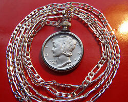 Us High Grade Silver Mercury Dime Pendant With A 16 .925 Sterling Silver Chain