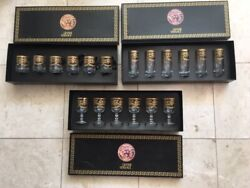 Gianni Versace Medusa Long Footed 24k Gold Water Glass Set Of 6 The Only 1 Ag