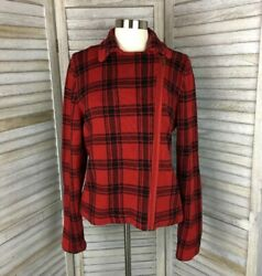 Chaps Red Plaid Waist Length Jacket Sz L Fall Winter Holiday Cotton Cozy Knit