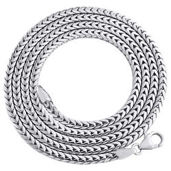 10k White Gold 3mm Solid Franco Chain Closed Link Square Box Necklae 22-30 Inch