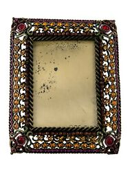 Jay Strongwater Jeweled Brass-tone Metal With Multi-color Crystal Picture Frame