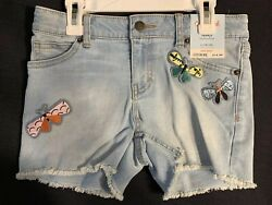 Cat and Jack Girls Faded Light Wash Denim Butterfly Patches Stretch Shorts
