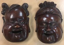 Buddha Pair Exquisite Rare Chinese 18-1900s Wood Carving Hotei Wooden Mask 9 X6andrdquo