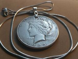 Us 1923 S American Silver Liberty Dollar And 22 925 Italian Silver Snake Chain
