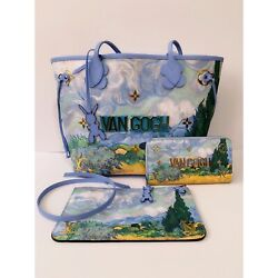🌹3 LOUIS VUITTON Masters Collection Koons Van Gogh NEVERFULL MM +POUCH + WALLET