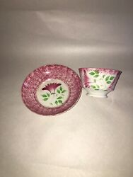 Staffordshire Red Spatterware Spatter Thistle Cup And Saucer Ca. 1830's