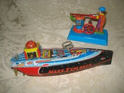 Two Vintage Wind Up Tin Toys Metalmania Mars Explorer Water Boat Ship/pump Mm088
