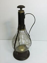 Vintage Glass W/brass Wine Decanter Bottle Music Box, Made In Japan, 11 1/2 T