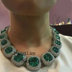 Antique 925 Sterling Silver Natural Rosecut Colombian Emerald Wedding Necklace