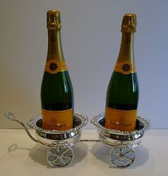 Antique Silver Plated Double Wine  Champagne Coaster Cart by Maple London