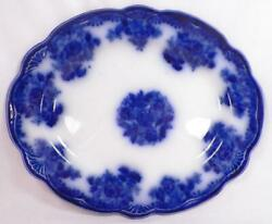 Waldorf Flow Blue Platter New Wharf Pottery Fan Embossed Edge Ironstone Antique