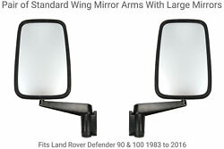Pair Of Std Arms With Large Gloss Black Wing Mirrors To Fit Defender 90 And 110