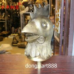 42 Cm Brass Auspicious Chinese Zodiac Fengshui Animal Chook Rooster Bust Statue