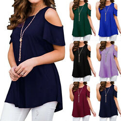 USA Plus Size Womens Blouse Cold Shoulder Summer Tee T Shirt Loose Casual Tops
