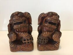 Antique Pair Chinese Hand Carved Wood Foo Dog Statue, 7 Tall X 4 Wide X 3 D