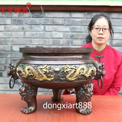 52 Cm Chinese Bronze Copper Dragon Play Bead Incense Burners Censer Incensory