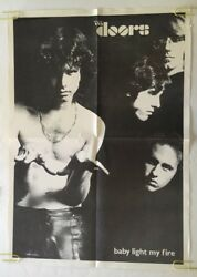 Original Vintage Light My Fire Jim Morrison The Doors 1970s Pin-up Black And White