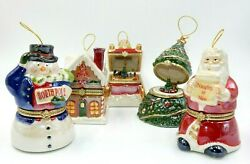 Rare Handpainted Mr. Christmas 5 Piece Music Box Christmas Ornaments Collection