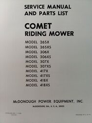 Snapper Comet Riding Lawn Mower Tractor Owner Service And Parts Manual 1967 418sx