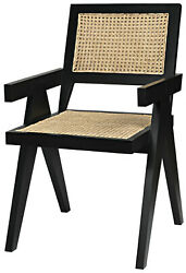 21 W Set Of 2 Clarence Dining Chair Solid Teak Wood Frame Woven Rattan Modern