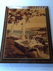 Vintage Beach Scene Wooden Inlay Picture Panel Wall Hanging 20 X 26 Image