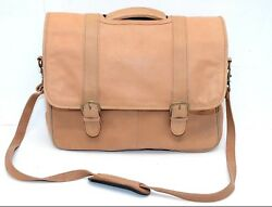 Heritage Soft Tan Brown Leather Laptop Messenger Bag Briefcase Carry On 16