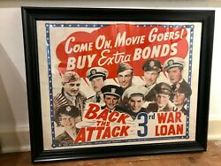 Vintage 1940and039s Come On Movie Goers Buy Extra Bonds Wwii War Poster On Linen