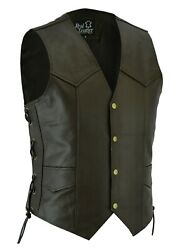 Mens Motorcycle Real Leather Waistcoat Biker Style Vest Brown With Side Laces