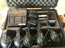 Hme Clear-com Football Coach Intercom System 3 Beltpacks 5 Headsets Charger Case