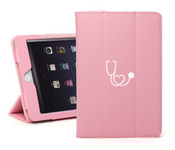For Apple Ipad Leather Smart Stand Case Cover Protector Heart Stethoscope Nurse